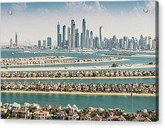 The Palm Jumeirah In Dubai With Skyline Acrylic Print by Franckreporter