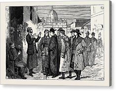 The Papal Jubilee At Rome, Pilgrims Buying Rosaries Acrylic Print by English School