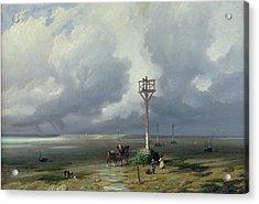 The Passage Du Gois At Noirmoutier, 1859 Oil On Canvas Acrylic Print by Prosper Barbot