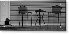 The Patio Chairs In Black And White Acrylic Print by Rob Hans
