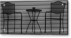 The Patio In Black And White Acrylic Print by Rob Hans