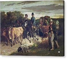The Peasants Of Flagey Returning From The Fair, 1850-55 Oil On Canvas Acrylic Print