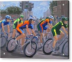 Acrylic Print featuring the painting The Peloton by Karen Ilari