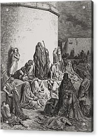 The People Mourning Over The Ruins Of Jerusalem Acrylic Print by Gustave Dore