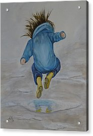 The Perfect Puddle... Jump Acrylic Print by Kelly Mills