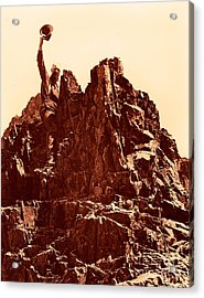 Acrylic Print featuring the photograph The Photographer On Pinnacle Peak Early 1900 Era by Eddie Eastwood