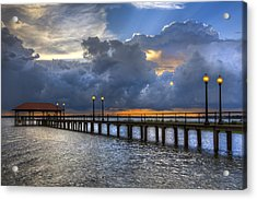 The Pier Acrylic Print by Debra and Dave Vanderlaan