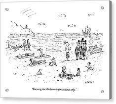 The Pilgrims Arrive At A Native American Beach Acrylic Print by David Sipress