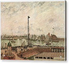 The Pilot's Jetty Le Harve Mornig Grey Weather Misty Acrylic Print by Camille Pissarro