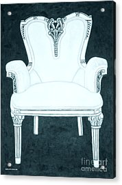 The Pink Chair Gone Cyanide Acrylic Print by Margaret Newcomb