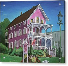 Acrylic Print featuring the painting The Pink House In Cape May by Melinda Saminski