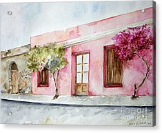 The Pink House In Colonia Acrylic Print