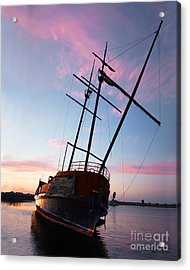 The Pirate Ship Acrylic Print by Barbara McMahon