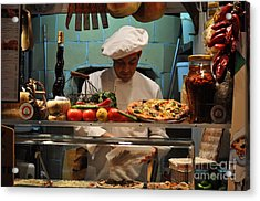 The Pizza Maker Acrylic Print by Mary Machare