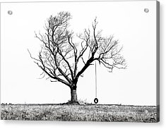 Acrylic Print featuring the photograph The Playmate - Old Tree And Tire Swing On An Open Field by Gary Heller
