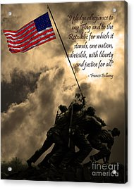 The Pledge Of Allegiance - Iwo Jima 20130211v2 Acrylic Print by Wingsdomain Art and Photography