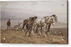 The Ploughman Wilmington Polegate Near Eastbourne Acrylic Print by Joseph Harold Swanwick