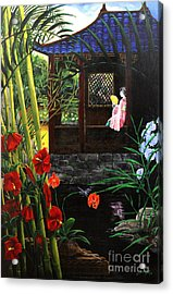 The Pond Garden Acrylic Print by D L Gerring