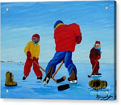 The Pond Hockey Game Acrylic Print by Anthony Dunphy