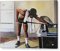 Acrylic Print featuring the painting The Pool Player by Linda Novick
