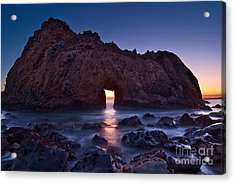 The Portal - Sunset On Arch Rock In Pfeiffer Beach Big Sur In California. Acrylic Print by Jamie Pham