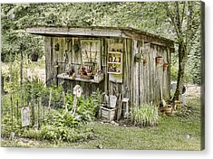 The Potting Shed Acrylic Print by Heather Applegate
