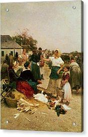 The Poultry Market Acrylic Print by Lajos Deak Ebner