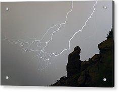 The Praying Monk Lightning Storm Chase Acrylic Print