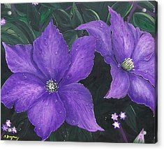 Acrylic Print featuring the painting The President Clematis by Sharon Duguay
