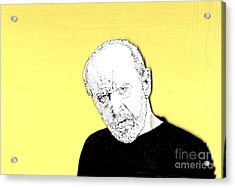 The Priest On Yellow Acrylic Print by Jason Tricktop Matthews