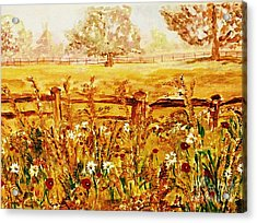 The Prince Of Wales Wild Flower Fields Acrylic Print by Helena Bebirian