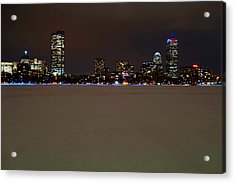 The Pru Lit Up In Red White And Blue For The Patriots Acrylic Print by Toby McGuire