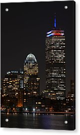 The Prudential Lit Up In Red White And Blue Acrylic Print by Toby McGuire