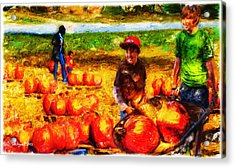 The Pumpkin Patch Acrylic Print by Ted Azriel