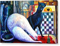The Queen And The Knight. Chess Of Love  Acrylic Print by Elisheva Nesis