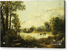 The Quiet Valley Acrylic Print by Jasper Francis Cropsey