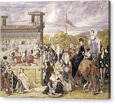 The Races At Longchamp In 1874 Acrylic Print by Pierre Gavarni