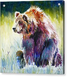 The Rainbow Bear Acrylic Print by P Maure Bausch