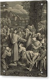 The Raising Of Lazarus 1886 Engraving Acrylic Print by Antique Engravings