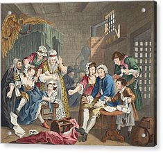 The Rake In Prison, Plate Vii, From A Acrylic Print by William Hogarth