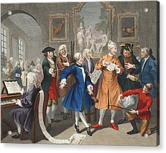 The Rakes Levee, Plate II, From A Rakes Acrylic Print by William Hogarth
