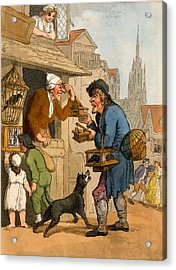 The Rat Trap Seller From Cries Acrylic Print by Thomas Rowlandson