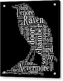 The Raven By Edgar Allan Poe Word Cloud Acrylic Print by Philip Ralley