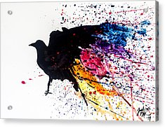 Acrylic Print featuring the painting The Raven by Joshua Minso