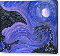 The Raven Acrylic Print by Roz Abellera Art