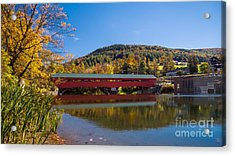 The Rebuilt Taftsville Covered Bridge Acrylic Print by New England Photography