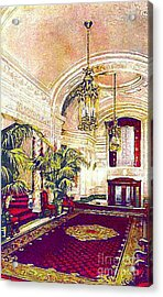 The Rector Hotel Lobby Staircase In 1910 Acrylic Print by Dwight Goss