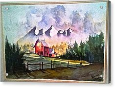 Acrylic Print featuring the painting The Red Barn Angry Sky Sold by Richard Benson