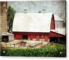 The Red Barn Acrylic Print by Cassie Peters