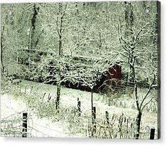 The Red Barn Acrylic Print by Mimi Saint DAgneaux